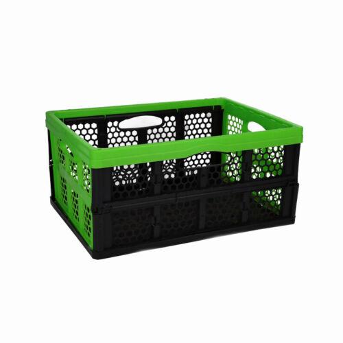 Plastic storage box foldable storage box folding tray green /& black 33l