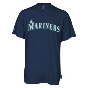 Majestic-Two-Button-Seattle-Mariners-Replica-Adult-Cool-Base-Jersey-SZ-L-R29