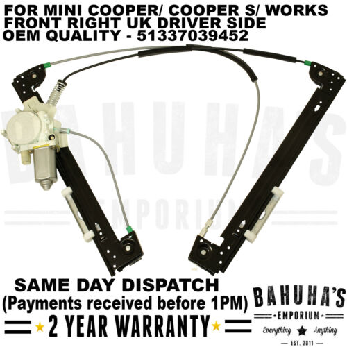 Regulador de la ventana-Para Mini Cooper//Cooper S//Obras 2001-2013 frontal lado izquierdo