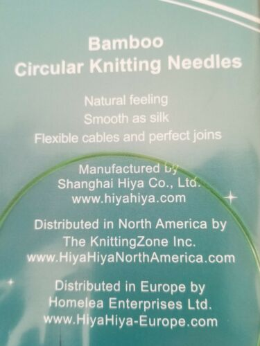 Knitting Needle Size US 1 NEW HiyaHiya Bamboo Circular 24 inch 60 cm 2.25 mm