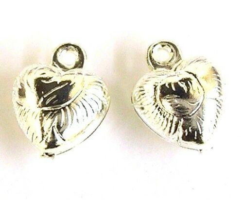 60 Silver Plated 9x7mm Puffy Heart Charms Jewellery Making
