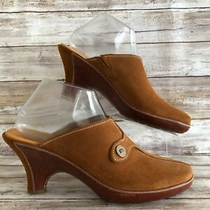 17a4e274cd1 Cole Haan Clogs Shoes 9.5N Brown Suede Split Toe Backless High Heel ...