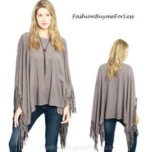11704f35d 70s Hippy Gypsy Western Haute Gray Faux Suede Fringe Poncho Sweater ...