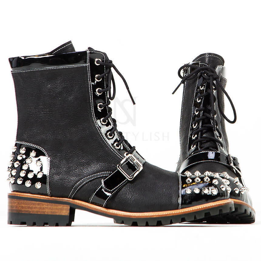 NewStylish Mens shoes Studded & Belted Contrast Lace-up Zipper Leather Boots