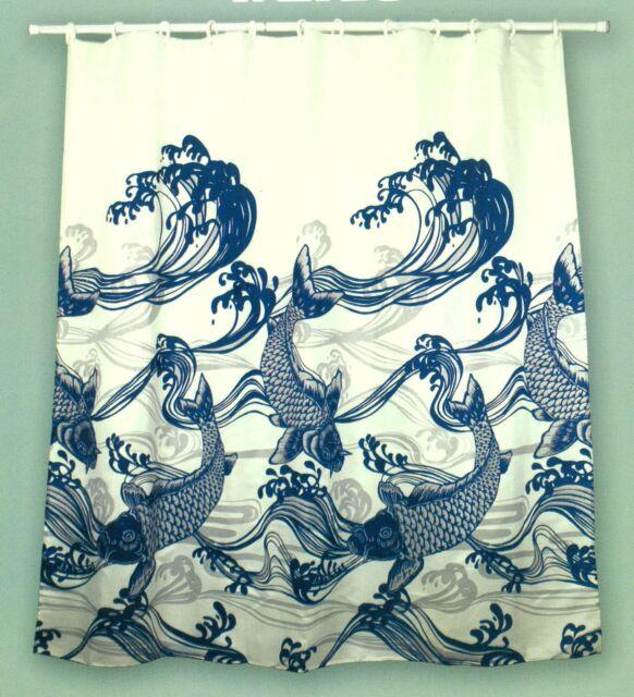 Hawaiian Fabric Shower Curtain Koi Japanese Fish 895596000196