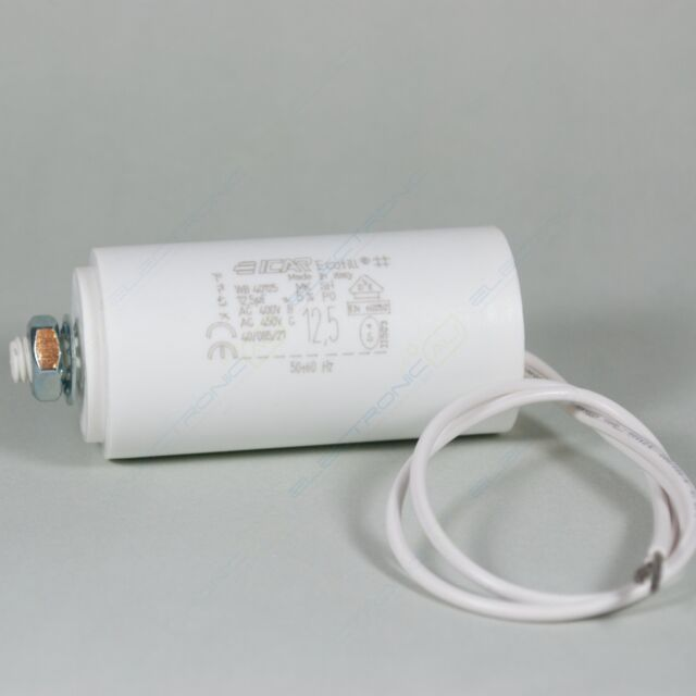 12.5uF Run Capacitor ICAR Insulated Fly Leads 400/450V motor dryer pump spa