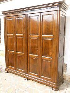 Armadio Noce 4 Ante.Antico Grande Armadio 4 Porte Stile 600 Lombardo Noce Massello Restaurato Pronto Ebay