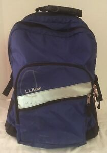 3ace130f4b433 LL BEAN DELUXE ROLLING BACKPACK BOOK BAG BLUE AND BLACK EXTENDABLE ...