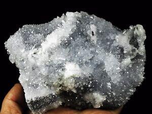Natural-Beautiful-White-Chrysanthemum-amp-Calcite-QUARTZ-Crystal-Cluster-Specimen