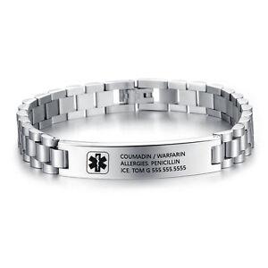 Image Is Loading Engraving Emergency Medical Id Bracelet Custom Alert