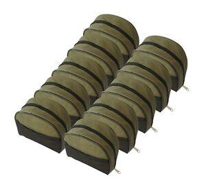 10 Pack MDI Zipped Green Fishing Reel Case with Mesh Pocket - (Size 20x20x9cm)
