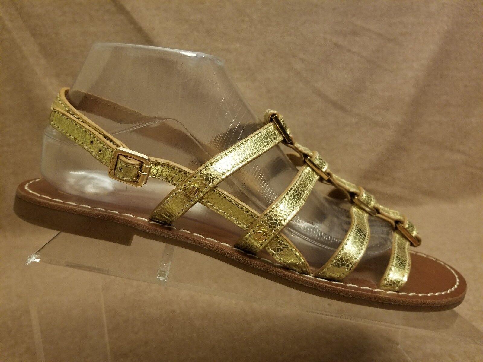 Tory Burch femmes en cuir doré métallisé MARRON Gladiateur Sandales Sz 11 M