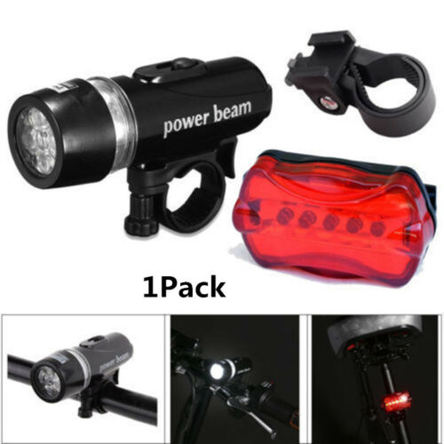 5 LED Lamp Bike Bicycle Front Head Light /& Tail Safety Flashlight Set 1 2 4 Pack
