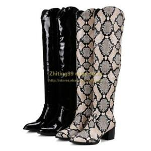 3c4bf84f34d Riding Womens Snakeskin Knee High Boots Pull On Low Heel Cowboy ...
