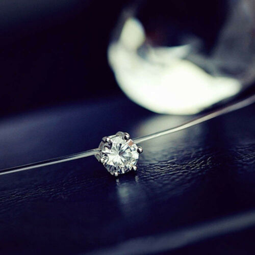 Women Clavicle Chain Crystal Invisible Line Zircon Necklaces Pendant Accessories