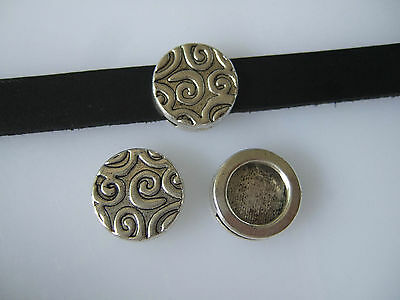 10 Antique Silver Round Carved Slider Spacer Beads For 5/10mm Flat Leather Cord