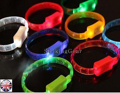 3x 6x 12x  LED FLASHING LIGHT-UP FLEXIBLE WRIST BRACELET BANGLE (2 COLOURS) UK