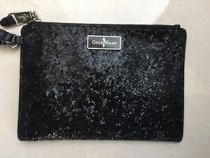Authentic-Cole-Haan-Black-Glitter-Wristlet-Wallet