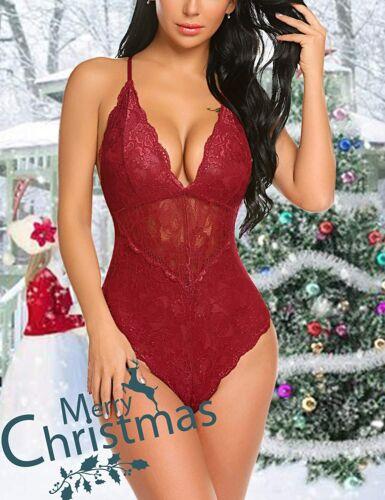 Women/'s Snap Crotch Lingerie Lace Bodysuit Christmas Red Eyelash Naugthy Teddies