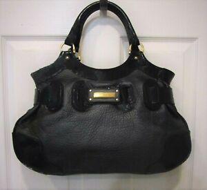NEW-Barbara-Bui-Black-Pebbled-Leather-Patent-Trim-Shoulder-Bag-Satchel-Purse