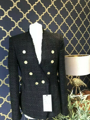 Black coat with Gold buttons by Zara