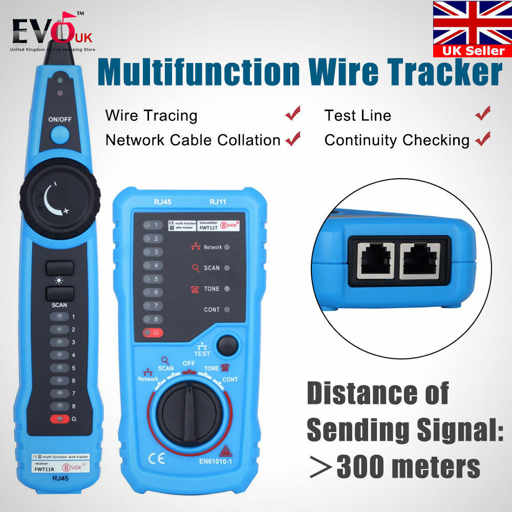 Cable Tester Wire Tracker Network Telephone Line Tracer Toner LAN ...