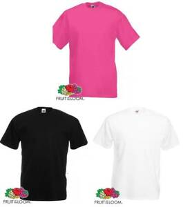 Fruit-Of-The-Loom-Plain-Cotton-T-Shirts-Black-White-amp-Pink-Various-Sizes