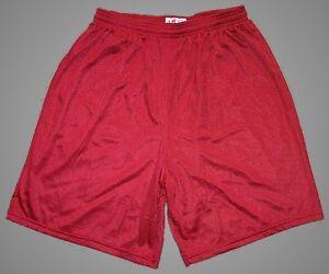 Red-Nylon-Mini-Mesh-Longer-Shorts-by-Soffe-Men-039-s-Large