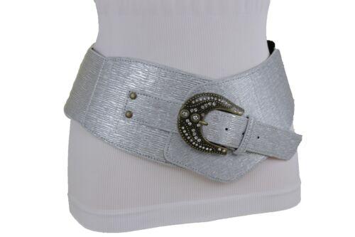Cool Women Faux Leather Metallic Silver Tone Fashion Belt Bling Metal Buckle M L
