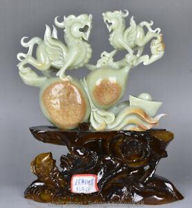 13-034-Naturel-Chinois-100-Xiu-Jade-Jadeite-Sculpte-2-Bete-Pixiu-Gourde