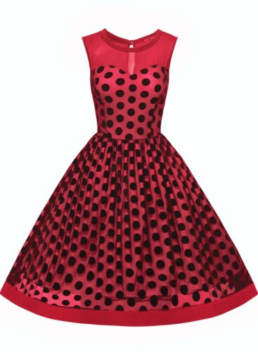 Women/'s Vintage Polka Dot Formal Cocktail Evening Party Swing Retro Gala Dress