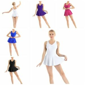 Womens-Adult-Sleeveless-V-neck-Ballet-Leotard-Dance-Bodysuit-Dress-Gymnastics