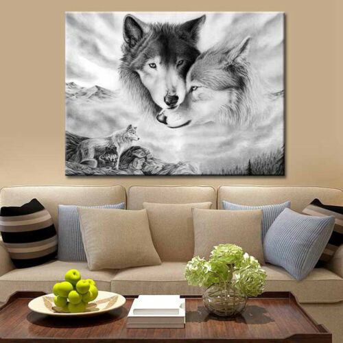 Canvas Painting Animal Wolf Picture Art Poster Wall Office Living Room Decor HB