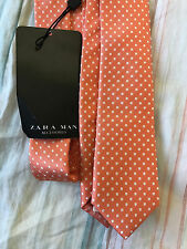 Men's Zara Orange Polka Dot Silk Skinny Tie $49.50