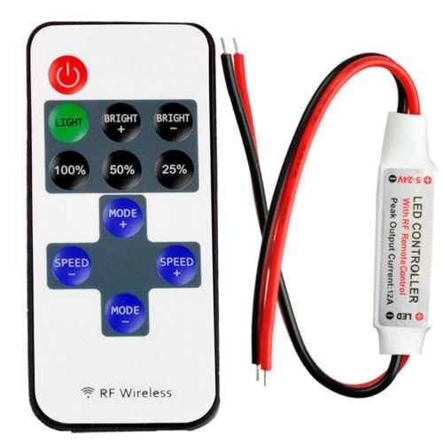 DC 12-24V Mini LED Controller Dimmer For LED Strip 5050 3528 Wireless RF Remote