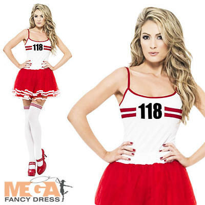 118 118 Marathon Set Ladies Fancy Dress 80s Novelty Sports Adults Womens Costume