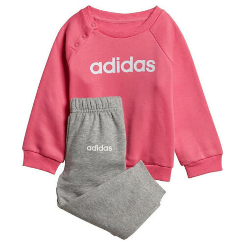 adidas Linear Fleece Girls Jog Set Pink Grey Infants Sports Tracksuit DV1287