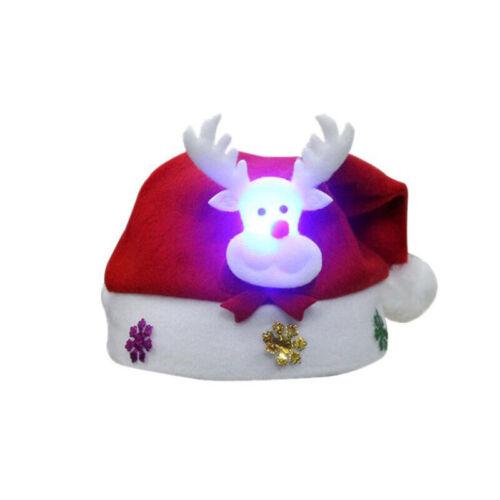 LED Luminous Light Glow Christmas Hat Santa Claus Snowman Elk Party Cap Gift