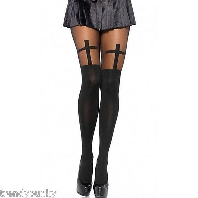 Pantyhose Stockings Opaque Cross Print Gothic Tights Black Thigh Highs