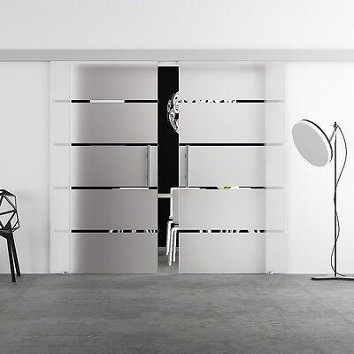 Doppel Glasschiebetür  2x 1025 x 2050mm Glastür Schiebetür LEVIDOR BA2S10G