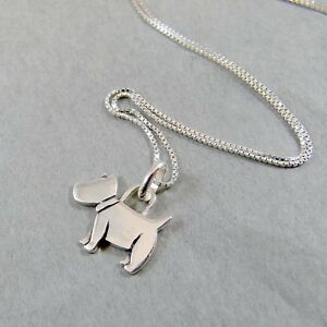 925-Sterling-Silver-Necklace-Scottie-Dog-Doggy-Scottish-Terrier-Pendant-w-Box
