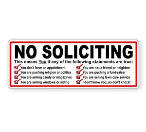 No Soliciting Vinyl Decal Sticker Window Label