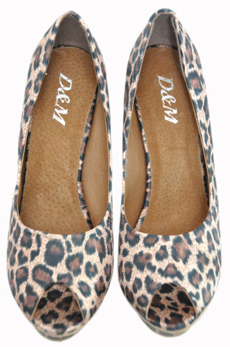 Pin Up Retro Rockabilly Pin Up LEOPARD Leomuster PLATEAU Peep Toes