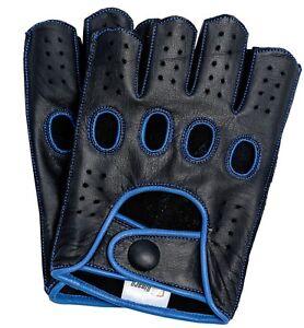 Brown Riparo Mens Leather Reverse Stitched Fingerless Half-Finger Gloves