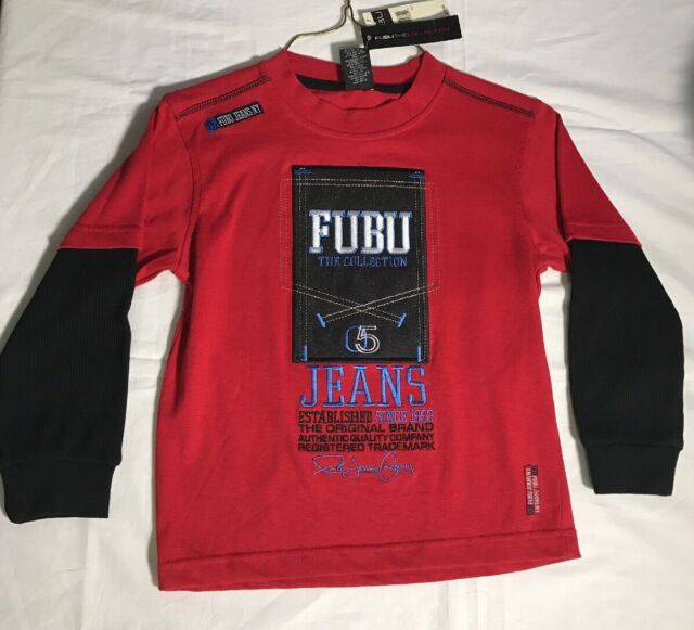 fe9f5113025015 Boy's Fubu$75 Baseball Shirt Embroidered Red Blue The Collection Sz 6 new w  tags