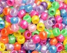 80pcs pearlised assorted acrylic pony beads,  9 x 6 mm