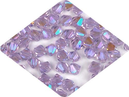 Rondell//Diamond Violet full AB Czech MC Glass Bicone Beads 3mm 4mm AB2X