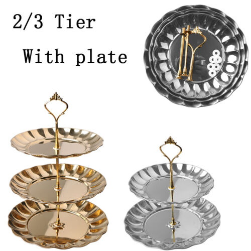 2//3 Tier Crown Cupcake Fruits Desserts Wedding Party Food Cake Stand With Plate