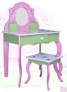kinder schminktisch rosa 426 kindertisch frisiertisch kommode spiegel tisch holz ebay. Black Bedroom Furniture Sets. Home Design Ideas