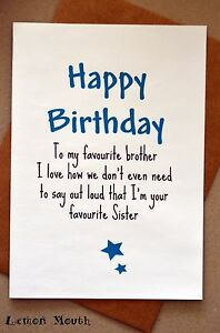 Funny brother birthday greeting card humour banter fun image is loading funny brother birthday greeting card humour banter fun m4hsunfo